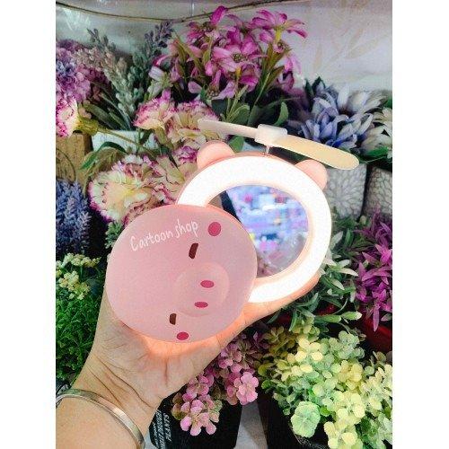 Quạt heo sạc điện mini có đèn và gương soi 3 trong 1 - quạt cầm tay bỏ túi tiện dụng3