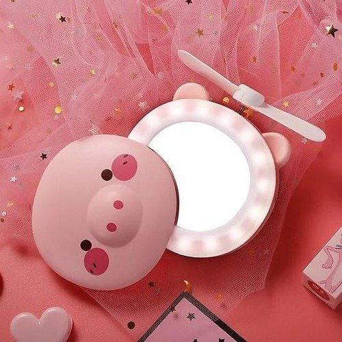 Quạt heo sạc điện mini có đèn và gương soi 3 trong 1 - quạt cầm tay bỏ túi tiện dụng2