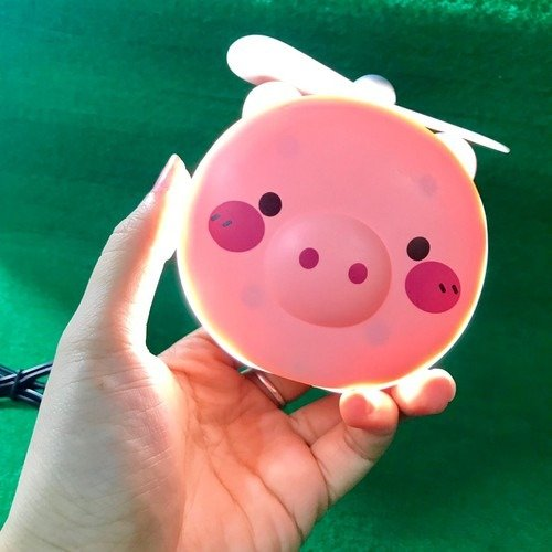Quạt heo sạc điện mini có đèn và gương soi 3 trong 1 - quạt cầm tay bỏ túi tiện dụng0