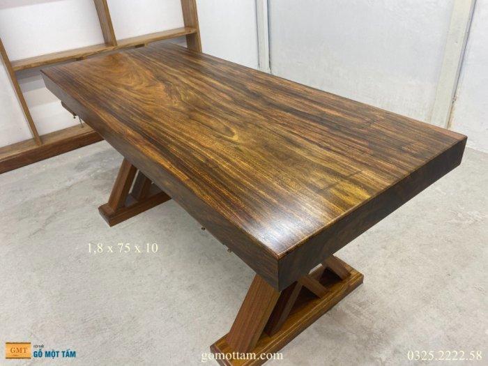 Bàn gỗ me tây nguyên tấm dài 1,8m rộng 75cm dày 10cm8