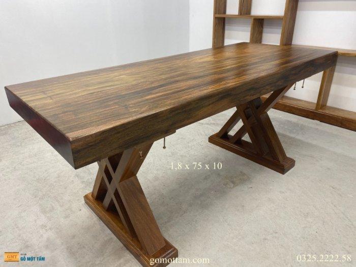Bàn gỗ me tây nguyên tấm dài 1,8m rộng 75cm dày 10cm2