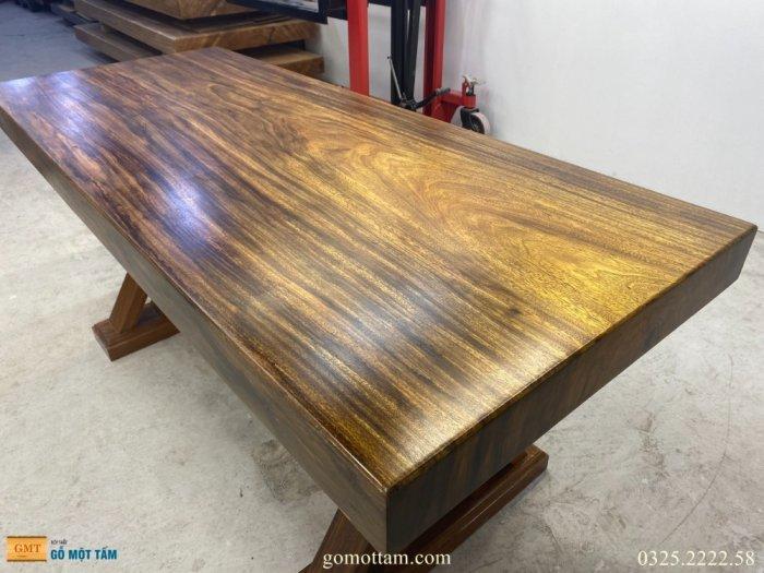 Bàn gỗ me tây nguyên tấm dài 1,8m rộng 75cm dày 10cm1