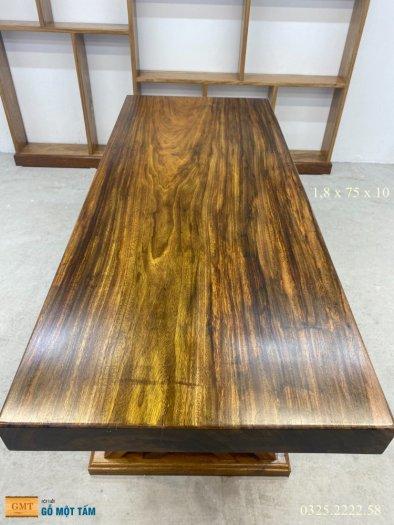 Bàn gỗ me tây nguyên tấm dài 1,8m rộng 75cm dày 10cm0