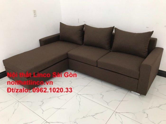 Bộ bàn ghế sofa góc | Sofa góc chữ L Nâu cafe đen đậm giá rẻ đẹp salong Linco Đồng Nai10
