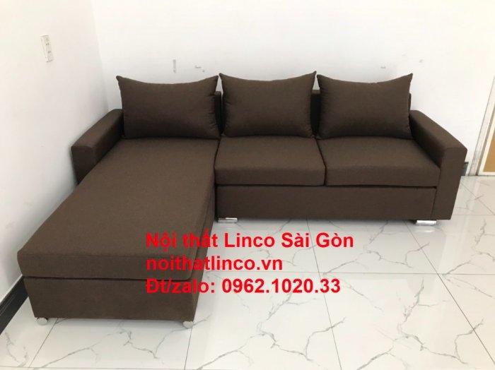 Bộ bàn ghế sofa góc | Sofa góc chữ L Nâu cafe đen đậm giá rẻ đẹp salong Linco Đồng Nai9