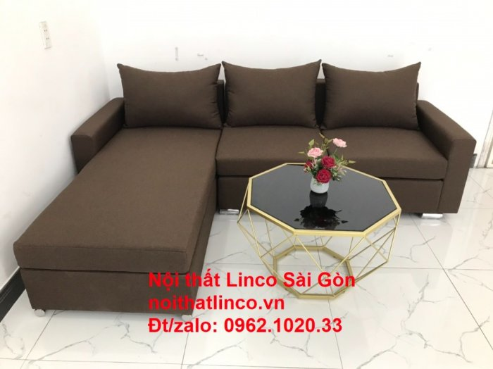 Bộ bàn ghế sofa góc | Sofa góc chữ L Nâu cafe đen đậm giá rẻ đẹp salong Linco Đồng Nai7