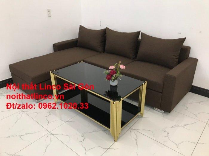 Bộ bàn ghế sofa góc | Sofa góc chữ L Nâu cafe đen đậm giá rẻ đẹp salong Linco Đồng Nai6