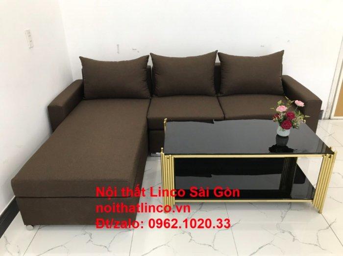 Bộ bàn ghế sofa góc | Sofa góc chữ L Nâu cafe đen đậm giá rẻ đẹp salong Linco Đồng Nai5