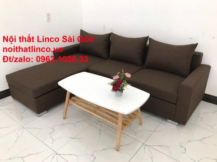 Bộ bàn ghế sofa góc | Sofa góc chữ L Nâu cafe đen đậm giá rẻ đẹp salong Linco Đồng Nai4