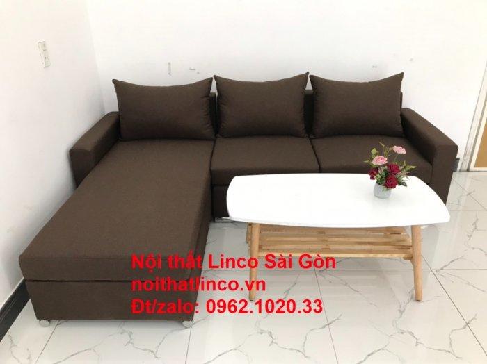 Bộ bàn ghế sofa góc | Sofa góc chữ L Nâu cafe đen đậm giá rẻ đẹp salong Linco Đồng Nai3
