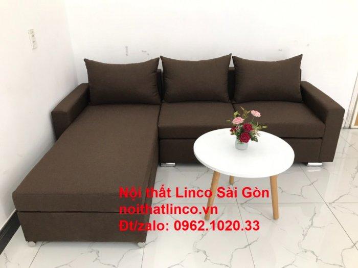 Bộ bàn ghế sofa góc | Sofa góc chữ L Nâu cafe đen đậm giá rẻ đẹp salong Linco Đồng Nai1