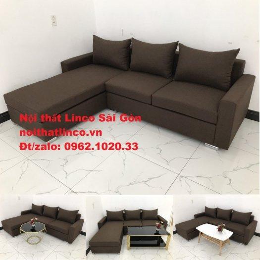 Bộ bàn ghế sofa góc | Sofa góc chữ L Nâu cafe đen đậm giá rẻ đẹp salong Linco Đồng Nai0