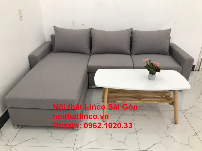 Sofa góc L | Salon góc chữ L Xám ghi trắng giá rẻ đẹp | Sofa Linco Bình Dương3