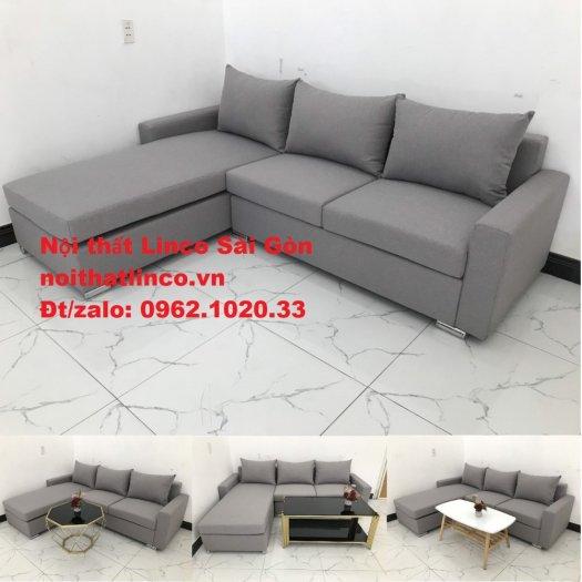 Sofa góc L | Salon góc chữ L Xám ghi trắng giá rẻ đẹp | Sofa Linco Bình Dương0