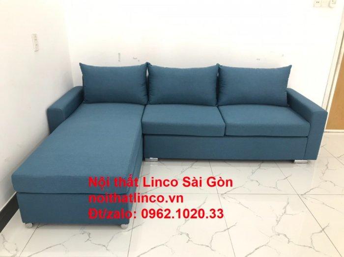 Bộ sofa góc chữ L màu xanh dương giá rẻ phòng khách hiện đại9