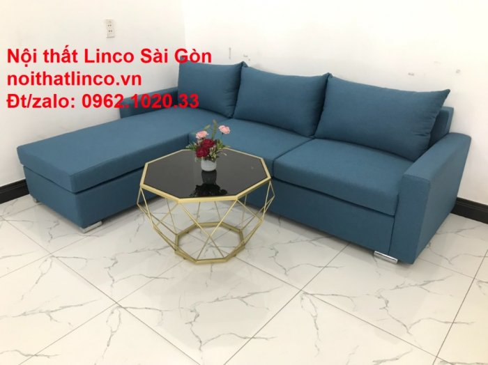 Bộ sofa góc chữ L màu xanh dương giá rẻ phòng khách hiện đại8