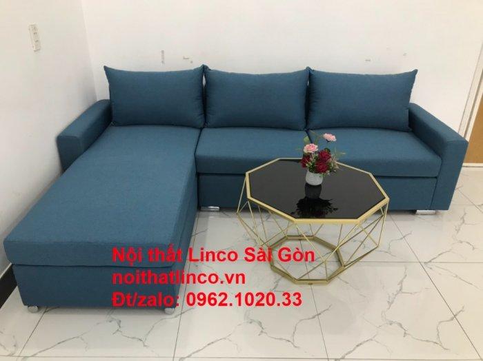 Bộ sofa góc chữ L màu xanh dương giá rẻ phòng khách hiện đại7
