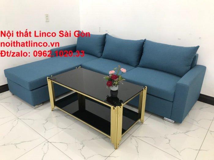 Bộ sofa góc chữ L màu xanh dương giá rẻ phòng khách hiện đại6