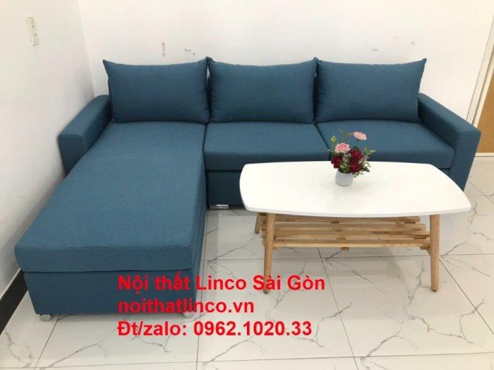 Bộ sofa góc chữ L màu xanh dương giá rẻ phòng khách hiện đại3