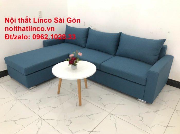 Bộ sofa góc chữ L màu xanh dương giá rẻ phòng khách hiện đại2