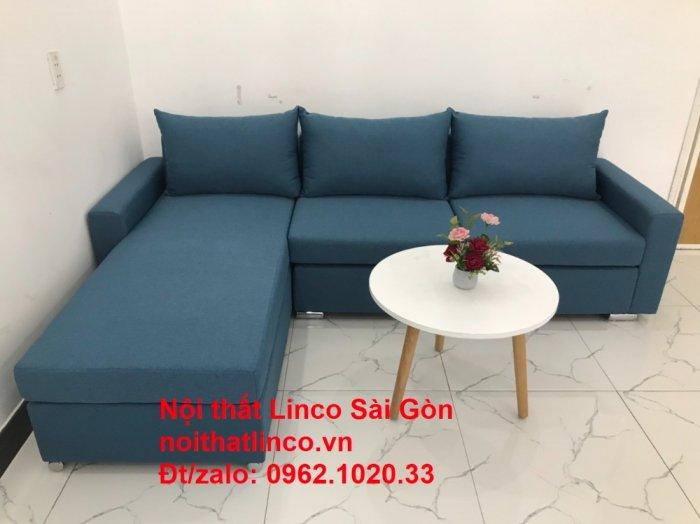 Bộ sofa góc chữ L màu xanh dương giá rẻ phòng khách hiện đại1