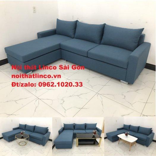 Bộ sofa góc chữ L màu xanh dương giá rẻ phòng khách hiện đại0