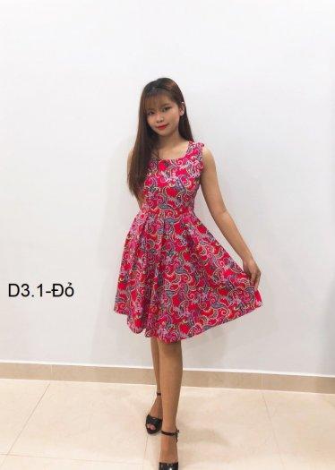 Đầm xòe sát nách xếp ly thời trang họa tiết đỏ D3.1-Đỏ1