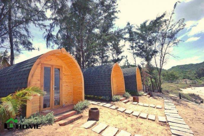 Tấm lợp giấy dầu giả đá dán mái bê tông, mái hình cầu, bungalow6