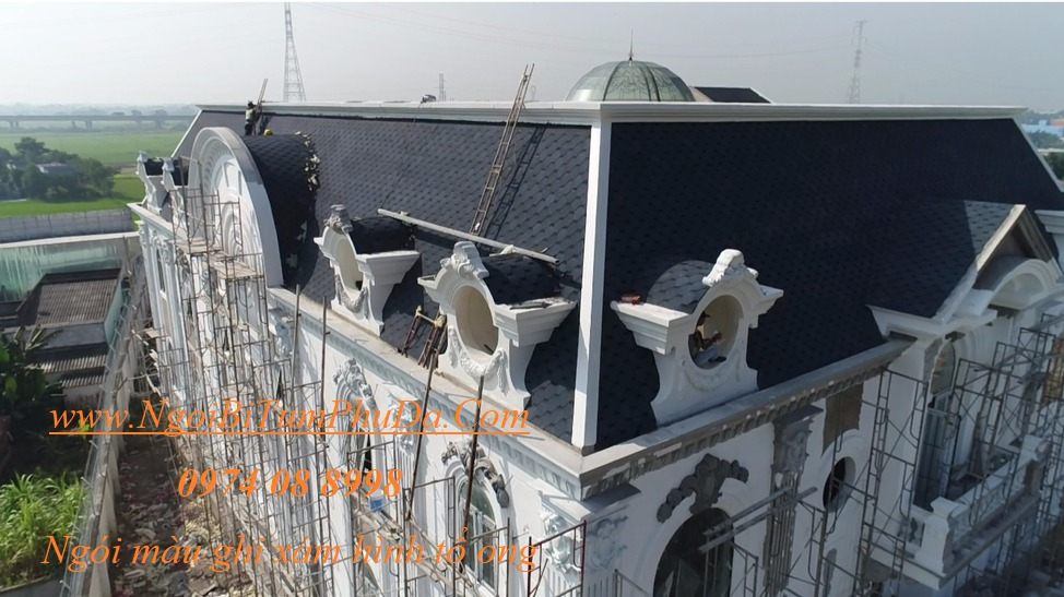 Tấm lợp giấy dầu giả đá dán mái bê tông, mái hình cầu, bungalow5