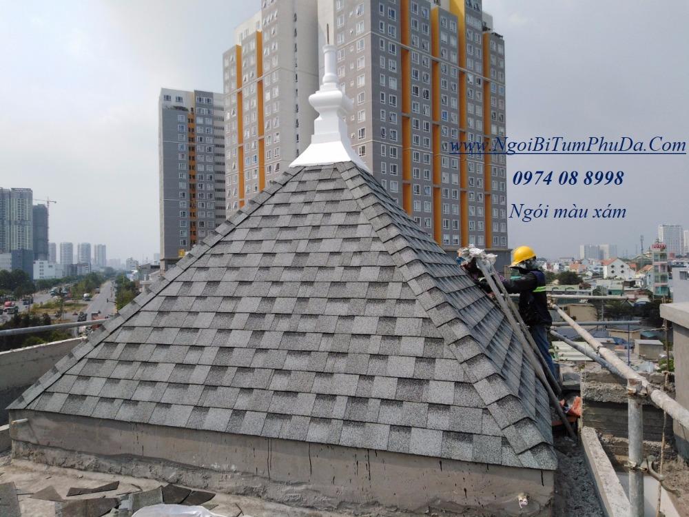 Tấm lợp giấy dầu giả đá dán mái bê tông, mái hình cầu, bungalow4
