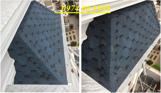 Tấm lợp giấy dầu giả đá dán mái bê tông, mái hình cầu, bungalow2