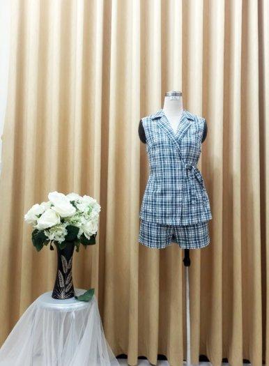 Bộ Vest nữ họa tiết caro cột dây eo xinh xắn, trẻ trung SET-1-VEST2