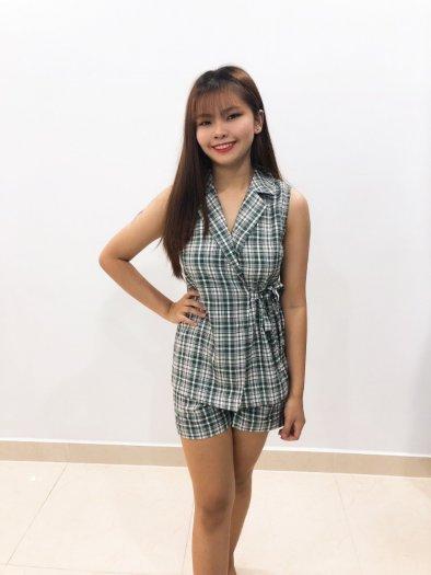 Bộ Vest nữ họa tiết caro cột dây eo xinh xắn, trẻ trung SET-1-VEST1