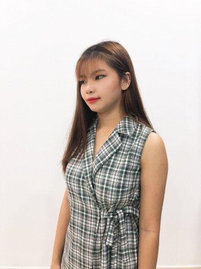 Bộ Vest nữ họa tiết caro cột dây eo xinh xắn, trẻ trung SET-1-VEST0