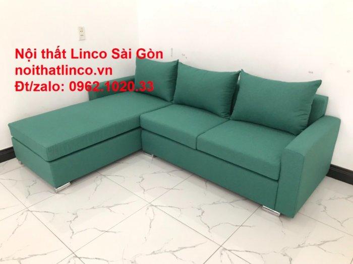 Sopha, Salon góc L xanh ngọc rẻ đẹp hiện đại phòng khách Sofa Linco Tp Biên Hòa10