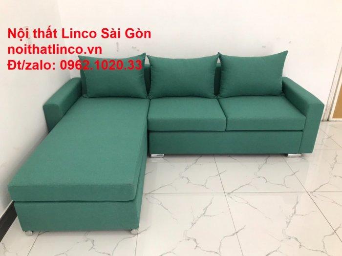 Sopha, Salon góc L xanh ngọc rẻ đẹp hiện đại phòng khách Sofa Linco Tp Biên Hòa9