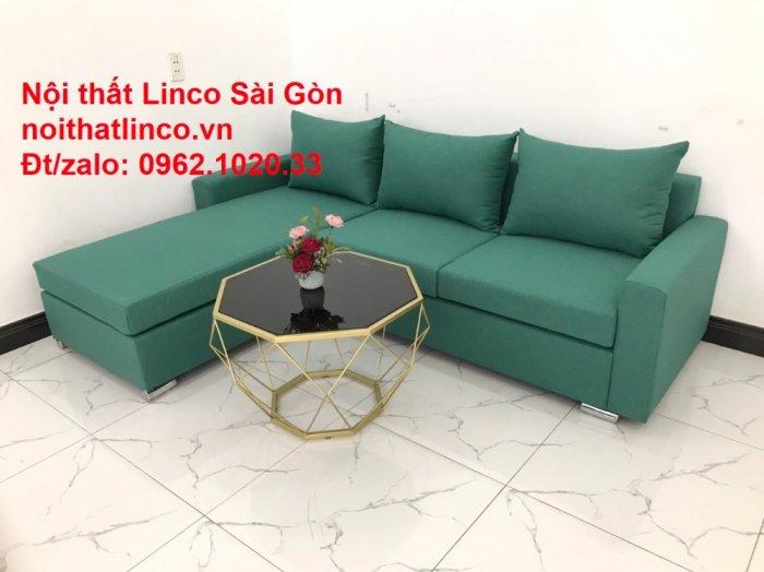 Sopha, Salon góc L xanh ngọc rẻ đẹp hiện đại phòng khách Sofa Linco Tp Biên Hòa8
