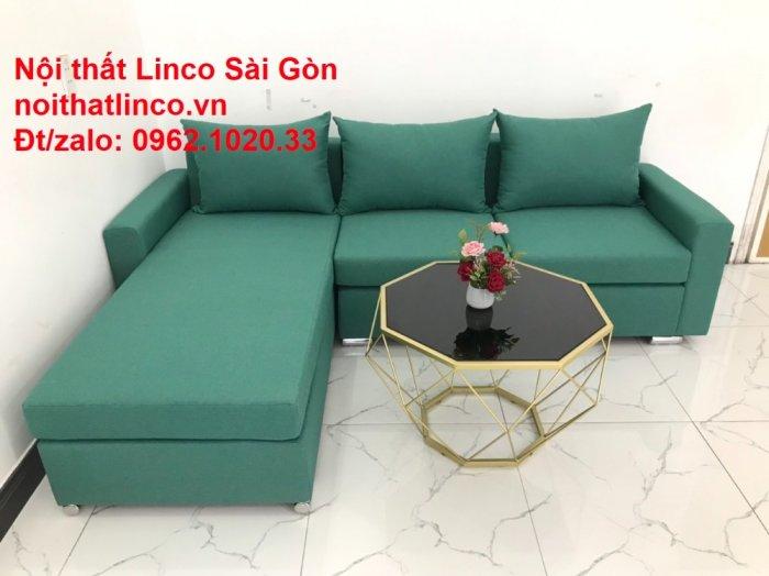 Sopha, Salon góc L xanh ngọc rẻ đẹp hiện đại phòng khách Sofa Linco Tp Biên Hòa7
