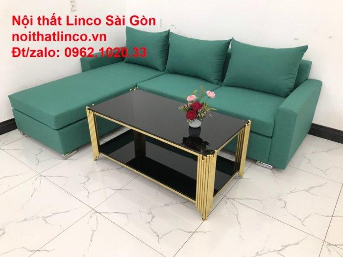 Sopha, Salon góc L xanh ngọc rẻ đẹp hiện đại phòng khách Sofa Linco Tp Biên Hòa6