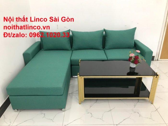 Sopha, Salon góc L xanh ngọc rẻ đẹp hiện đại phòng khách Sofa Linco Tp Biên Hòa5