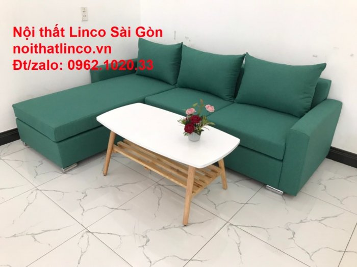 Sopha, Salon góc L xanh ngọc rẻ đẹp hiện đại phòng khách Sofa Linco Tp Biên Hòa4