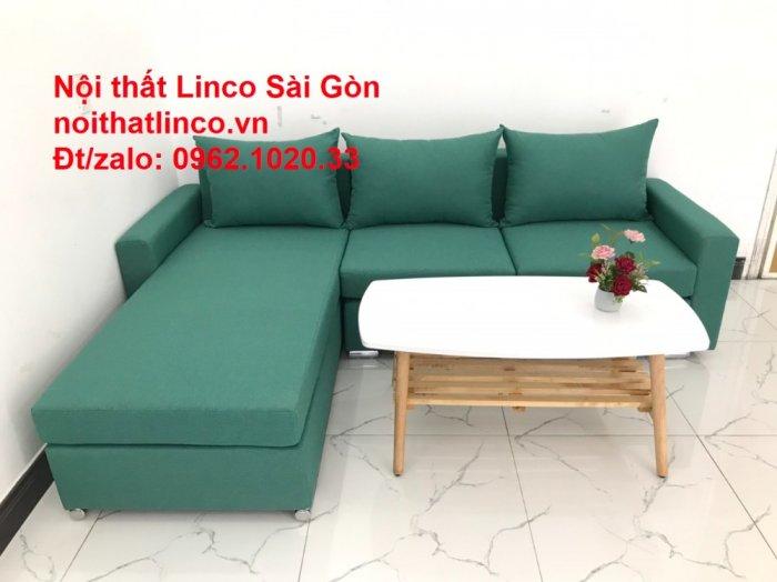 Sopha, Salon góc L xanh ngọc rẻ đẹp hiện đại phòng khách Sofa Linco Tp Biên Hòa3