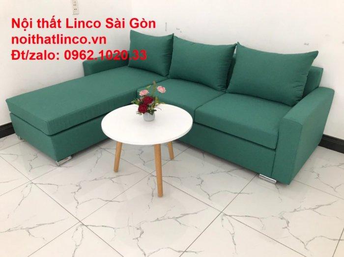 Sopha, Salon góc L xanh ngọc rẻ đẹp hiện đại phòng khách Sofa Linco Tp Biên Hòa2
