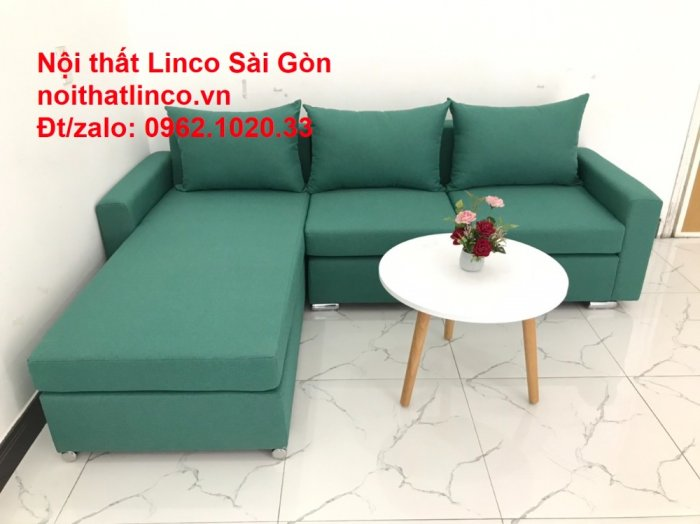 Sopha, Salon góc L xanh ngọc rẻ đẹp hiện đại phòng khách Sofa Linco Tp Biên Hòa1