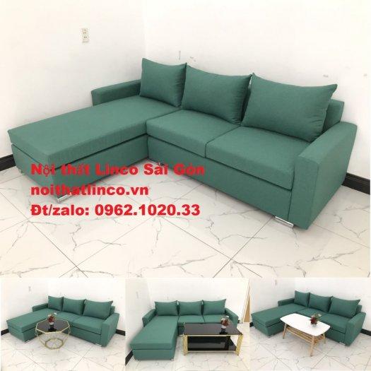 Sopha, Salon góc L xanh ngọc rẻ đẹp hiện đại phòng khách Sofa Linco Tp Biên Hòa0