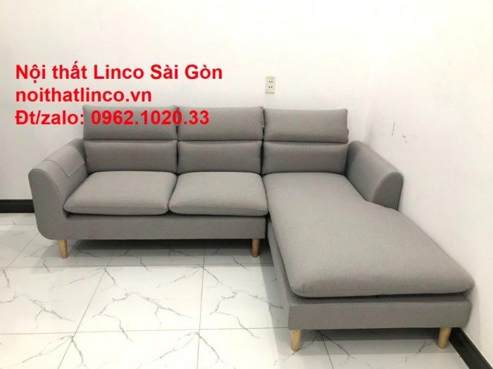 Bộ ghế sofa góc 2m2 xám trắng giá rẻ Nội thất phòng khách Linco HCM Sài Gòn9