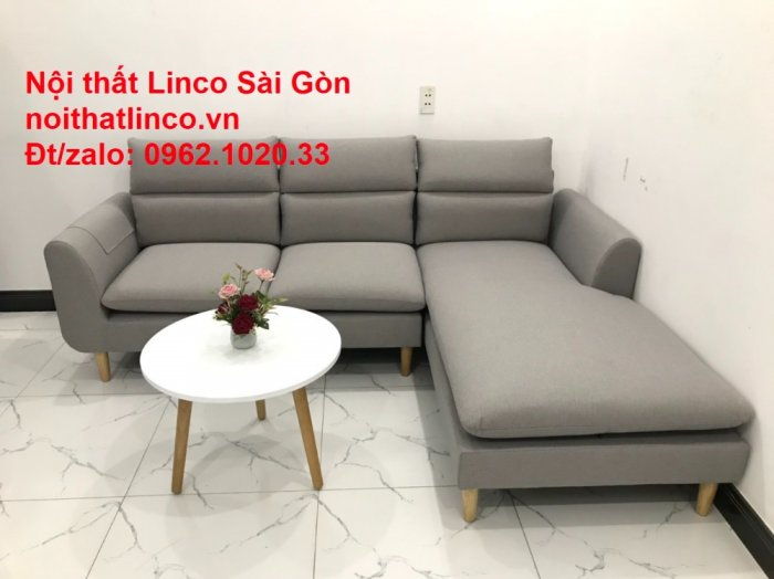 Bộ ghế sofa góc 2m2 xám trắng giá rẻ Nội thất phòng khách Linco HCM Sài Gòn1