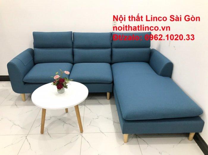 Ghế sofa góc   salon góc L xanh dương giá rẻ đẹp   Sofa phòng khách Linco Đồng Nai1