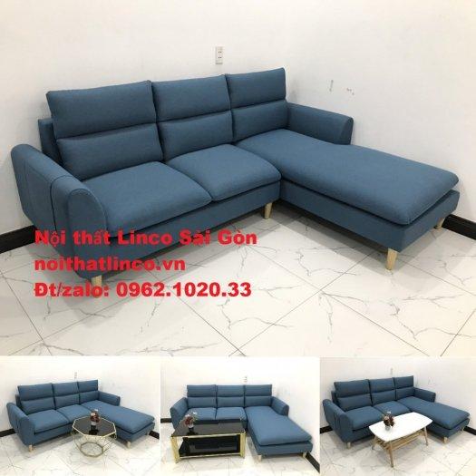 Ghế sofa góc   salon góc L xanh dương giá rẻ đẹp   Sofa phòng khách Linco Đồng Nai0