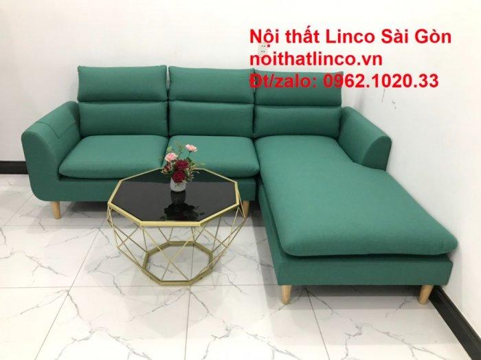 Sopha, salong góc   Sofa góc 2m2 xanh ngọc rẻ đẹp   Nội thất Linco HCM7